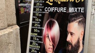 Haareschneiden zu Billigstpreisen: Im Genfer Quartier Pâquis herrscht grosse Konkurrenz - und derzeit vor allem grosse Unsicherheit. (Bild: Benjamin Weinmann)