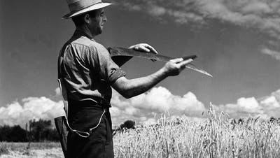 Ein Schnitter wetzt das Blatt seiner Sense. Aufnahme aus dem Jahr 1944 aus der Westschweiz. ((Bild: Keystone))