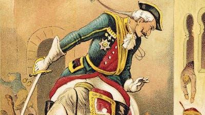 Das halbierte Pferd, das ohne Hinterteil zur Tränke trabt, ist eine Geschichte, die auf eine König-Artus-Sage zurückgeht. (Bilder: Münchhausen-Bibliothek Zürich)