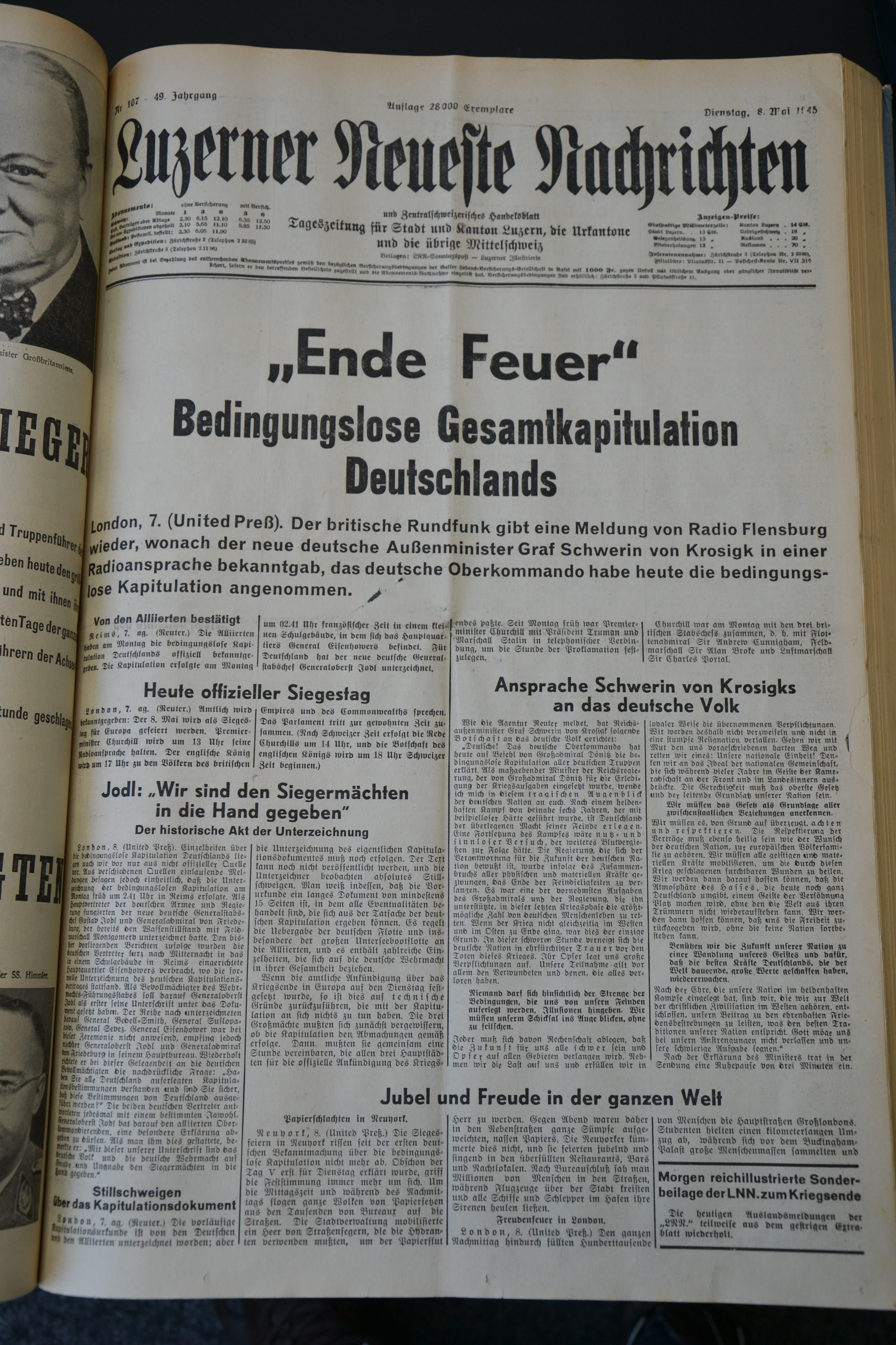 So titelten die «Luzerner Neueste Nachrichten».