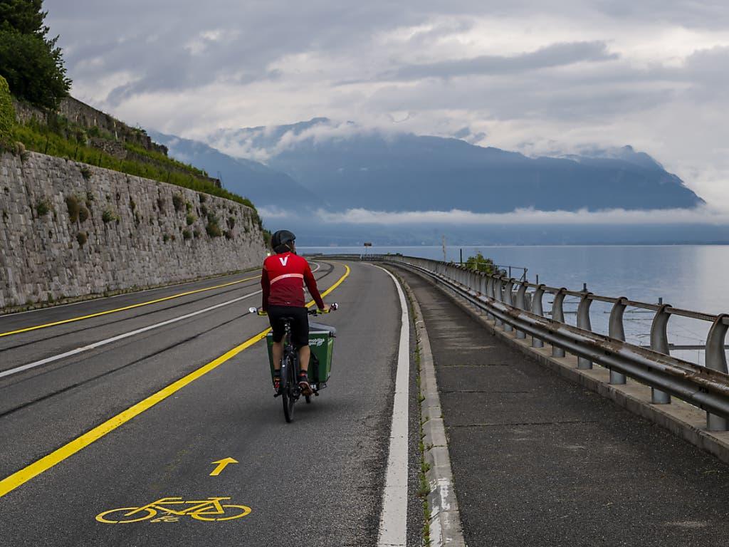 Auch entlang des Genfersees bei Dezaley VD ist ein Fahrradstreifen entstanden.