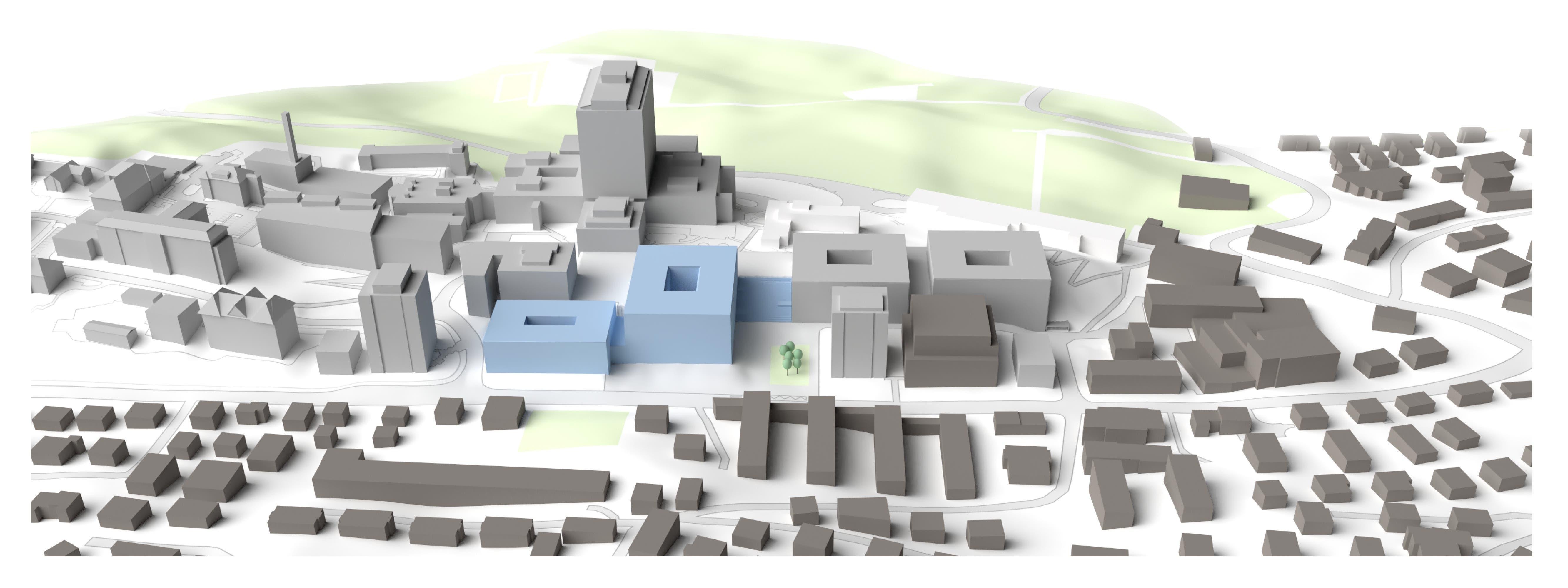 Bauphase 2: Neubau für besucherintensive Angebote wie den Ambulatorien. Hier wird sich künftig der Haupteingang befinden, nicht mehr wie heute im Hochhaus. Das neue Gebäude liegt direkt an der Spitalstrasse und damit in nächster Nähe zum ÖV.
