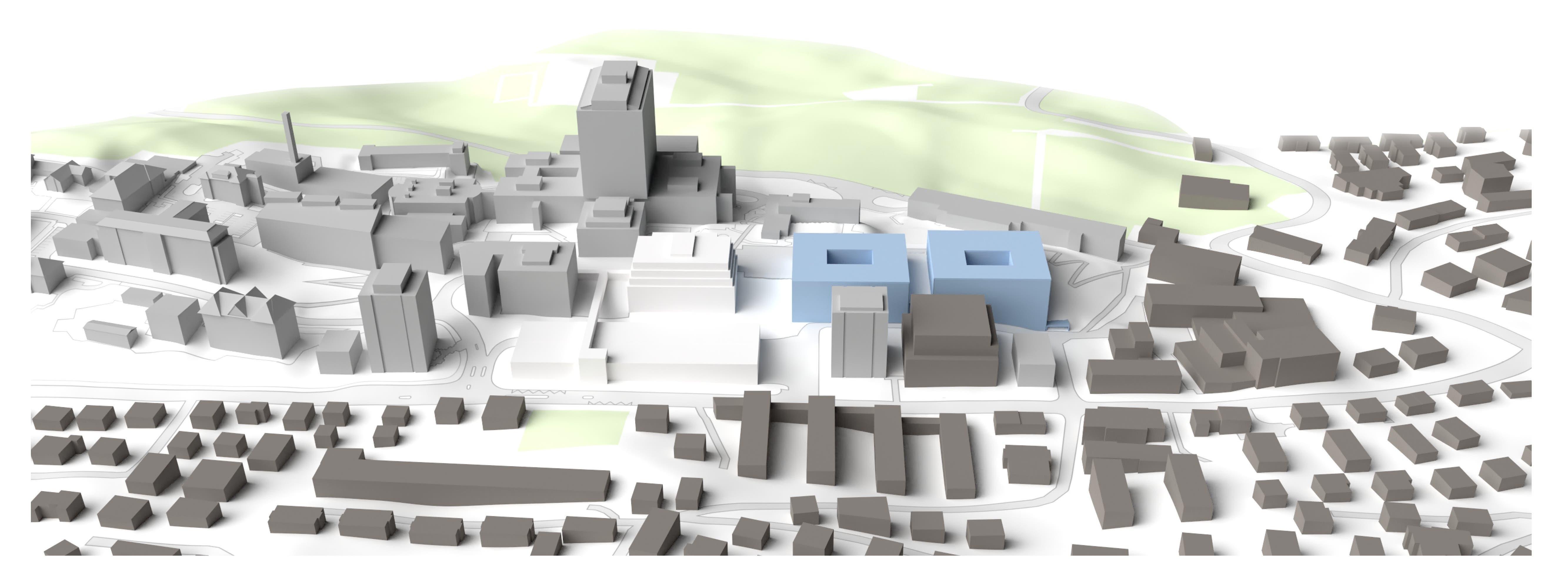 Bauphase 1: Das Kinderspital (linkes, blaues Gebäude) und die Frauenklinik (rechts) werden bis 2025 fertiggestellt. Das alte Kinderspital sowie das Besucher-Parkhaus (weiss) werden abgerissen.