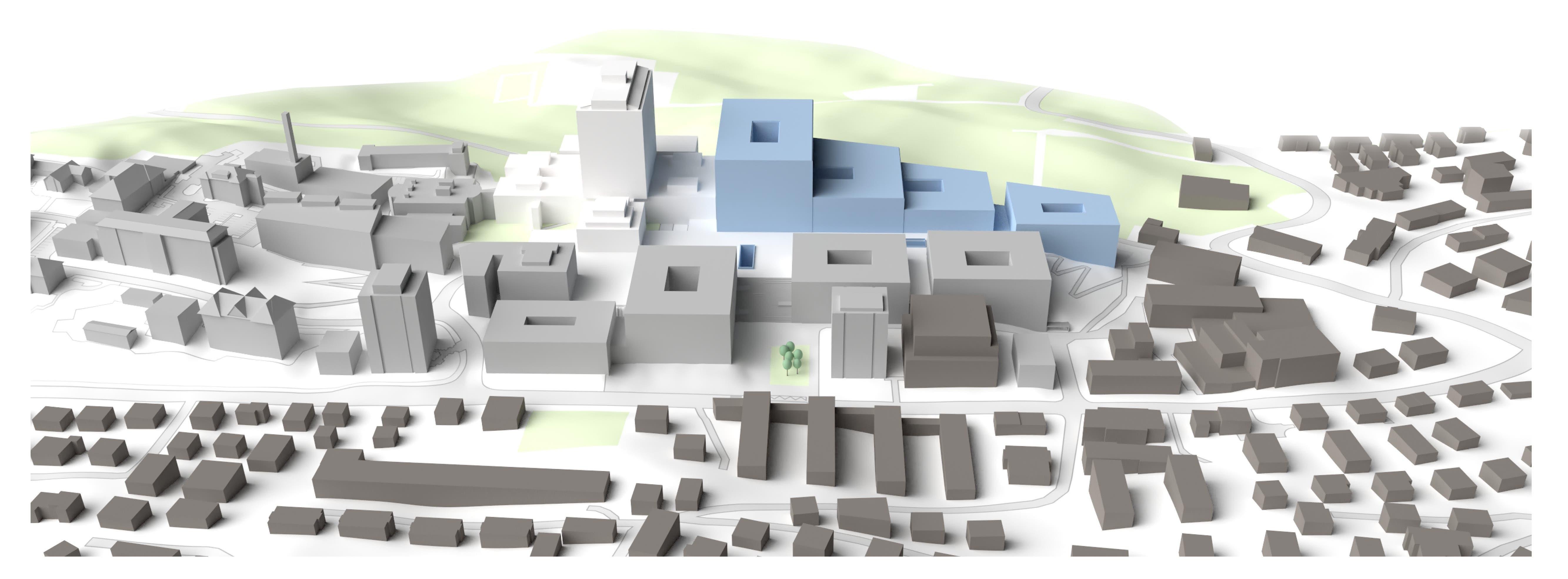 Bauphase 3: Das Spitalzentrum im Hochhaus aus dem Jahr 1982 (weiss) wird rückgebaut. Nebenan entsteht ein Neubaukomplex. Im Ergeschoss und im Obergeschoss sind alle Baufelder zusammengebaut, womit eine zentrale Einheit für OPs, Diagnostik und weiteres entsteht.
