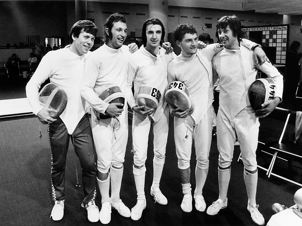Das Schweizer Silberteam von München 1972: Peter Lötscher, Christian Kauter, Francois Suchanecki, Guy Evéquoz und Daniel Giger (von links nach rechts)