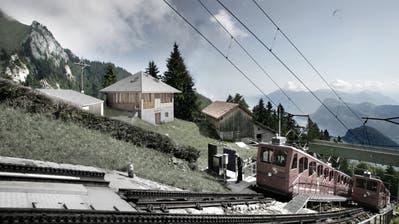 Visualisierung der neuen Alphütte Ämsigen (Bildmitte) mit dem bestehenden Stall (rechts) der Kreuzungsstation Ämsigen der Zahnradbahn Alpnachstad-Pilatus Kulm. (Visualisierung: PD)