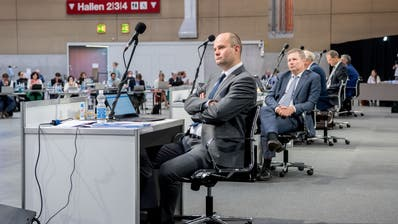 Der Luzerner Regierungsrat an der Sitzung vom 18. Mai in der Messe Luzern Allmend. (Bild: Nadia Schärli (Luzern,18 Mai 2020))