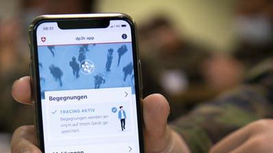 So sieht die offizielle Tracing-App der Schweiz aus. (Laurent Gillieron/Keystone)