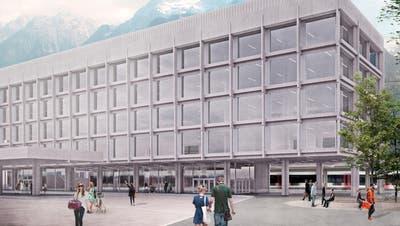 So soll der neue Hauptsitz der Urner Kantonalbank am Bahnhofplatz 1 in Altdorf aussehen. (Visualisierung: PD)