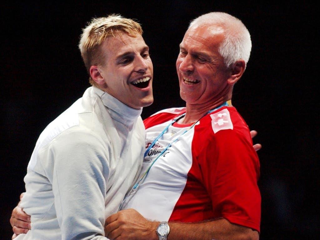 Ein Erfolgsduo: Fischer mit dem damaligen Nationaltrainer Rolf Kalich