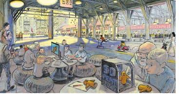 Diese Visualisierung zeigt, wie der «Markt Thurgau» in der Stadtkaserne dereinst aussehen könnte. ((Bild: PD/Matthias Gnehm))