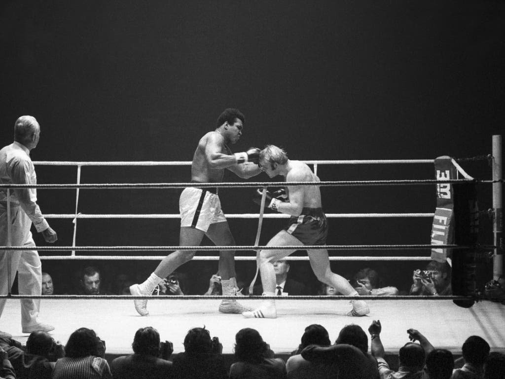 Muhammad Ali bei seinem Auftritt 1971 im Zürcher Hallenstadion