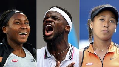 Coco Gauff, Frances Tiafoe und Naomi Osaka sind die Stimmen der schwarzen Tennis-Gemeinschaft, die zu Solidarität aufrufen. (Bild: Keystone / Montage CH Media)