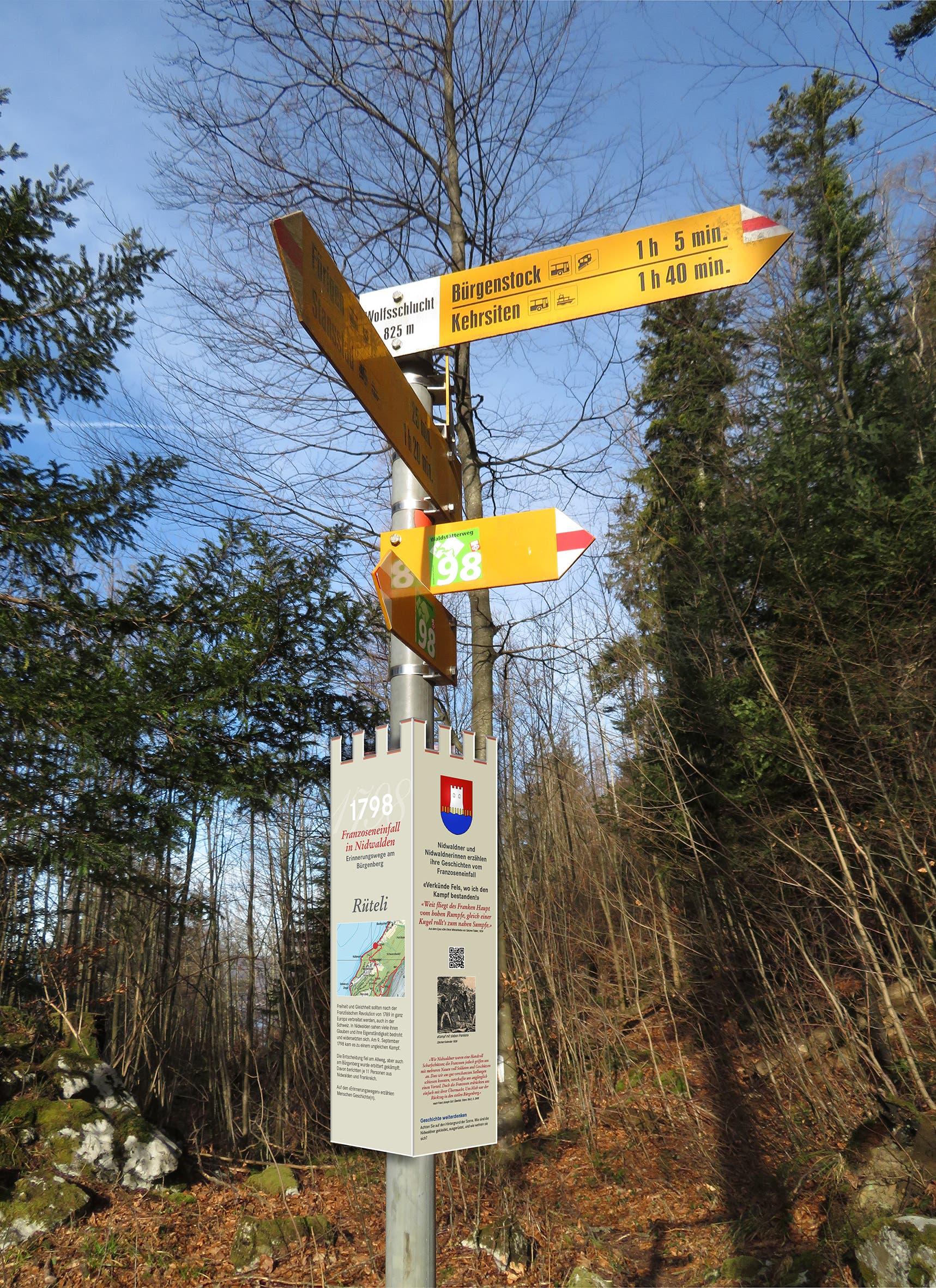 Visualisierung einer Wegmarke an einem Wanderwegweiser auf dem Erinnerungsweg am Bürgenberg.