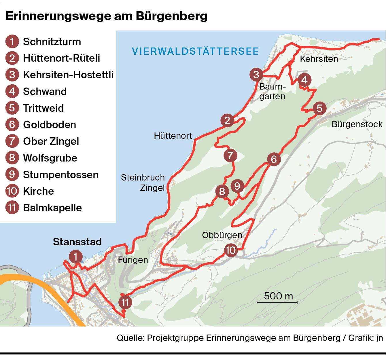 Karte des Erinnerungswegs am Bürgenberg