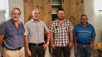 Die Wahlvorschläge der SVP Wartau: (von links) Daniel Lohner (Gemeinderat neu), Robert Kohler (Gemeindepräsident neu), Martin Gabathuler (Gemeinderat bisher) und Peter Monn (GPK neu). (Martin Trendle)