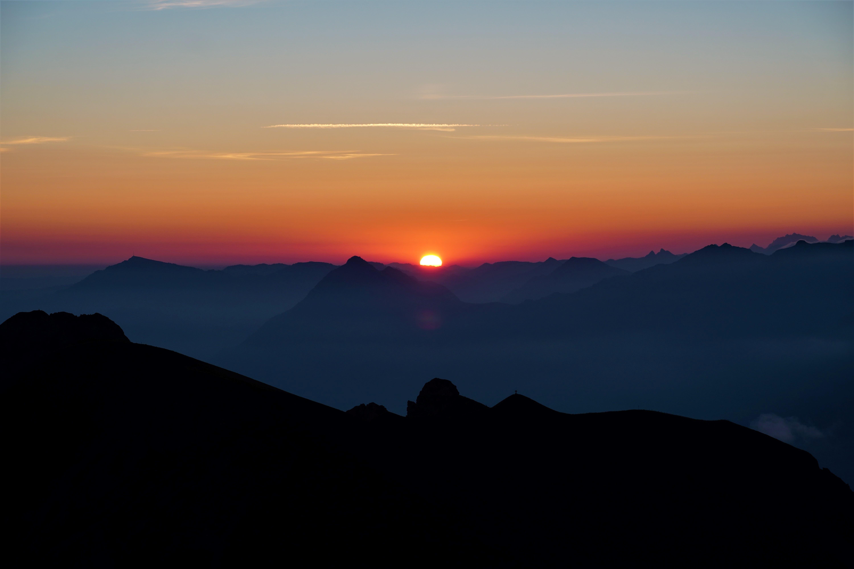Sonnenaufgang auf dem Höch Gumme (Brienzergrat) um 5.30 Uhr mit dem Stanserhorn und der Rigi.