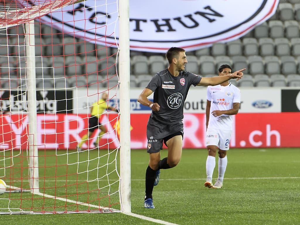 Thuns Simone Rapp im Triumph nach seinem frühen 1:0 gegen den FCZ