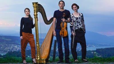 Das Trio Tacchi Alti aus dem Kanton Aargau:Kathrin Bertschi (Harfe), Hannes Bärtschi (Viola) undBarbara Bossert (Flöten). (Bild: PD)