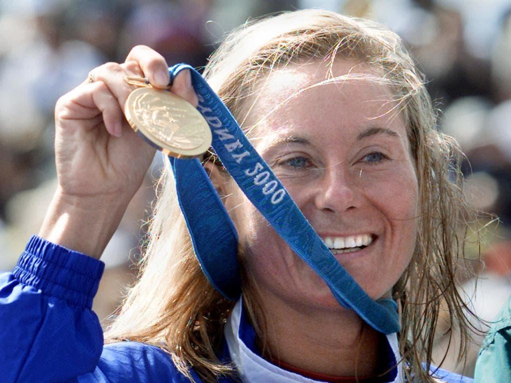 Erste Triathlon-Olympiasiegerin: Brigitte McMahon, Switzerland