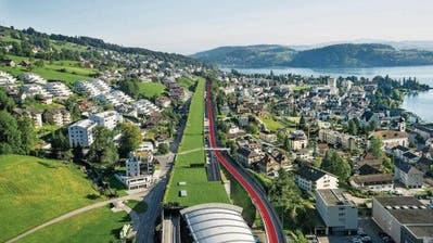 Bereits beschlossen: Die Einfahrt von der A8 bei Hergiswil wird länger und der Pannenstreifen bei viel Verkehr auf der A2 Richtung Nord/Luzern zur dritten Spur (rote Strecke). (Bild: Astra)