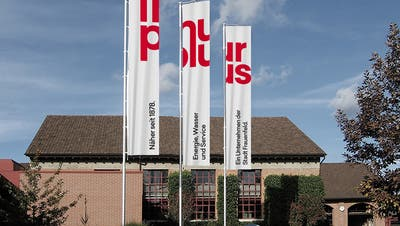 Die Fahnen mit dem neuen Namen Thurplaus der Werkbetriebe Frauenfeld sind bis dato erst auf dieser Visualisierung zu sehen. (Bild: PD)