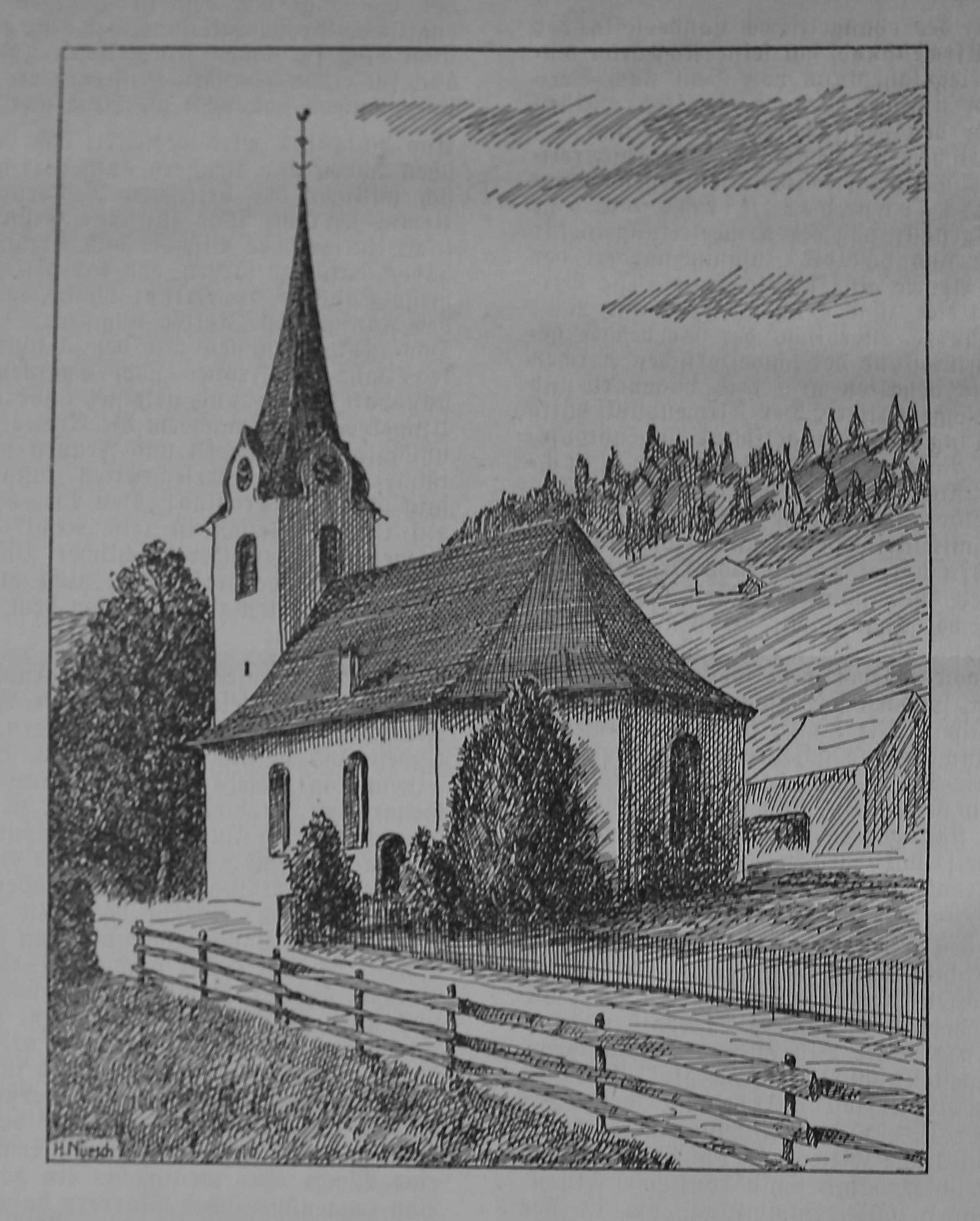 Regelmässig berichtet der Toggenburger Kirchenbote über die Geschichte der Kirchgemeinden im Tal und illustriert diese Beiträge mit Zeichnungen. Hier die Kirche von Ennetbühl.