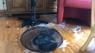 Dieser Boden-Ventilator geriet in Brand. (Bild: Kantonspolizei St.Gallen)