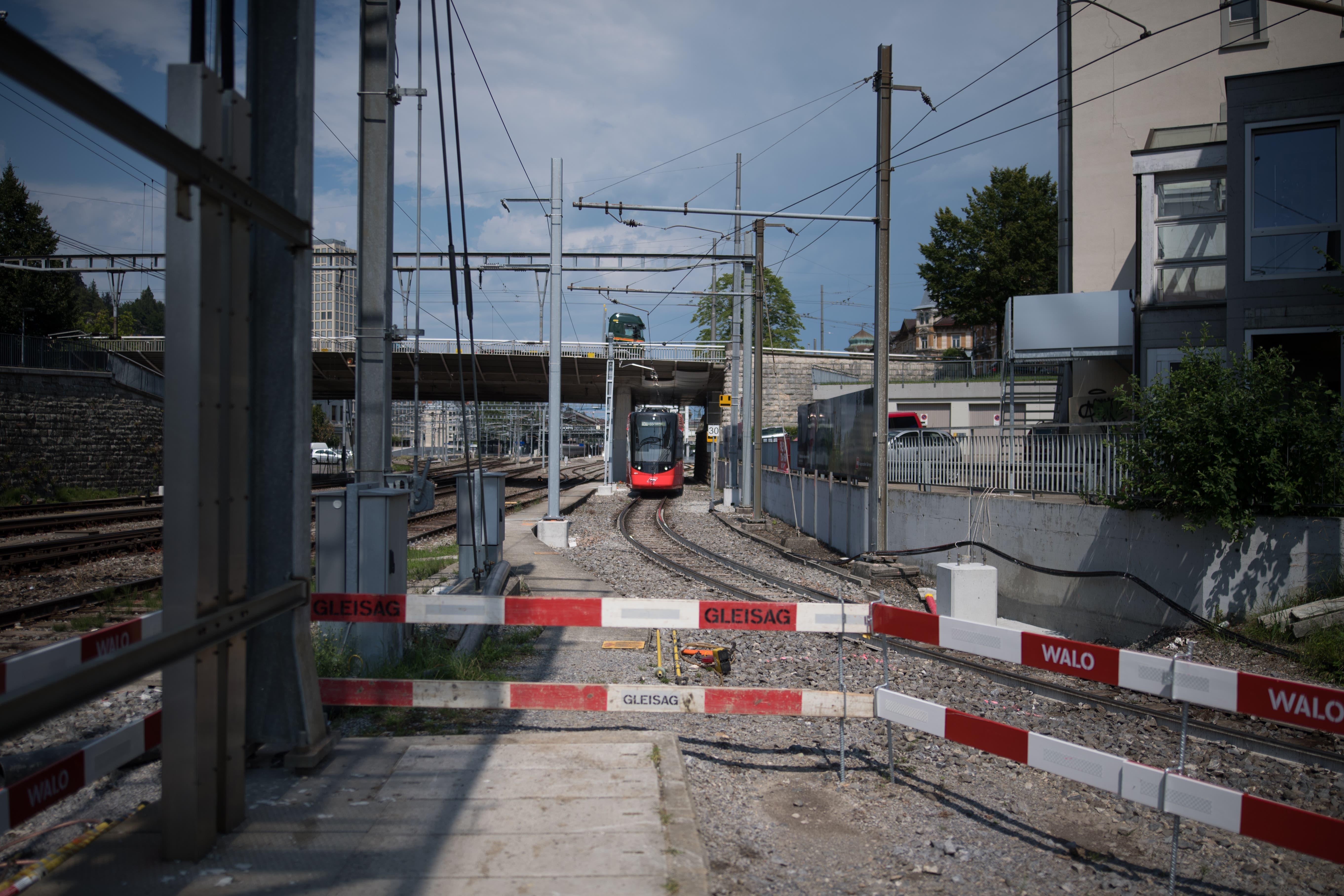 Rundgang durch die Baustelle der Appenzeller Bahnen und der SBB beim Güterbahnhof.