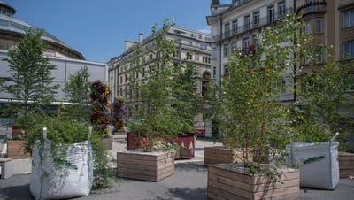 Der temporäre Löwenplatz in der Stadt Luzern ist menschenleer. (Bild: Nadia Schärli (Luzern, 29. Juli 2020))