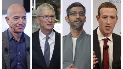 Die Chefs der grossen Technologiekonzerne müssen vor dem Ausschuss des US-Parlaments aussagen (von links nach rechts): Jeff Bezos (Amazon), Tim Cook (Apple), Sundar Pichai (Google) und Mark Zuckerberg (Facebook). (Pablo Martinez Monsivais Evan Vu / AP)