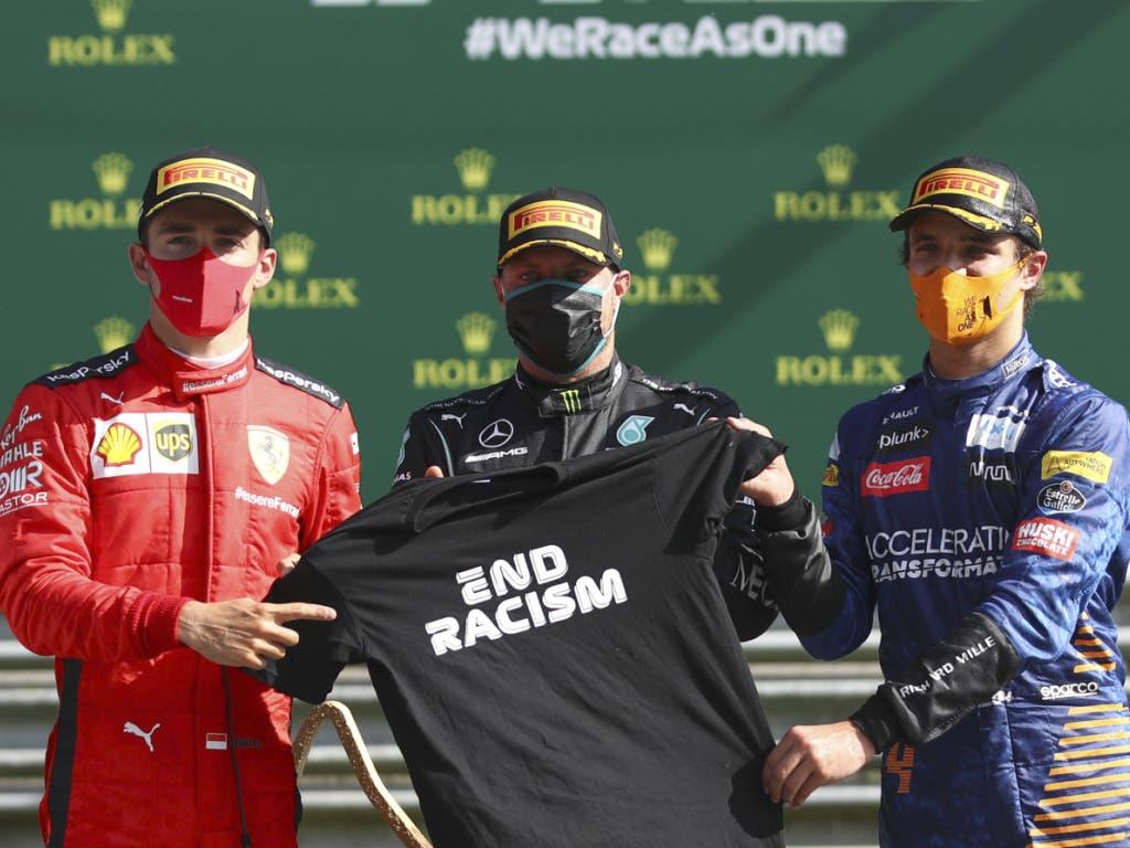 Das Podest (von links): Charles Leclerc (Ferrari), Sieger Valtteri Bottas (Mercedes) und Lando Norris (McLaren)
