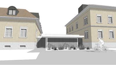 So soll die Südfassade des neuen Zwischentrakts nach dem Ausbau aussehen. ((Bild: PD))