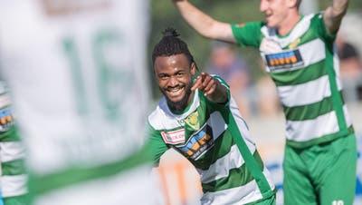 Mann des Spiels: Asumah Abubakar erzielt drei Treffer für den SCK. (Bild: Pius Amrein (Kriens, 8. Juli 2020))