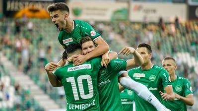 Am 31. Juli besiegte der FC St.Gallen Xamax mit 6:0. Die Espen sicherten sich in dieser Corona-Meisterschaft Platz zwei hinter dem Fussballmeister YB. (Bild: Claudio Thoma / freshfocus)