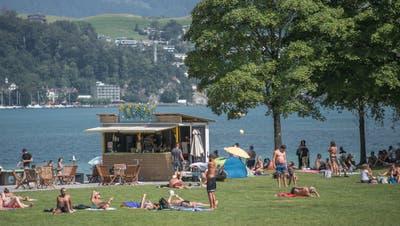 Die «Beach-Bar» auf der Ufschötti erlebt ihre letzte Saison. (Bild: Pius Amrein (Luzern, 12. August 2020))