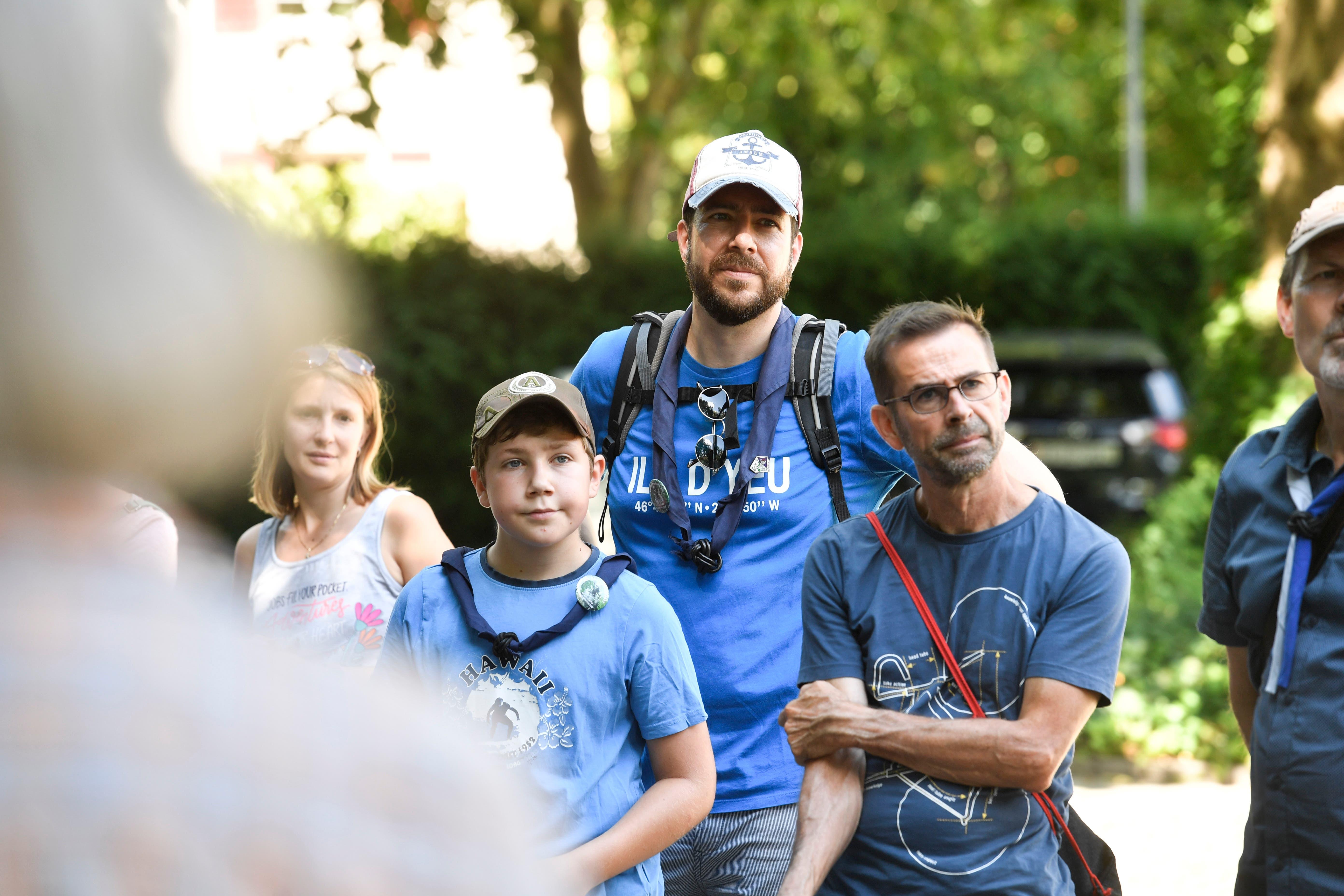 Frauenfeld TG , 15.08.2020 / Spaziergang in die Frauenfelder Pfadigeschichte - 80-Jahr-Jubiläum der Pfadi Frauenfeld / Im Bld Markus Kaiser ( Mann in der mitte mit Käppi )