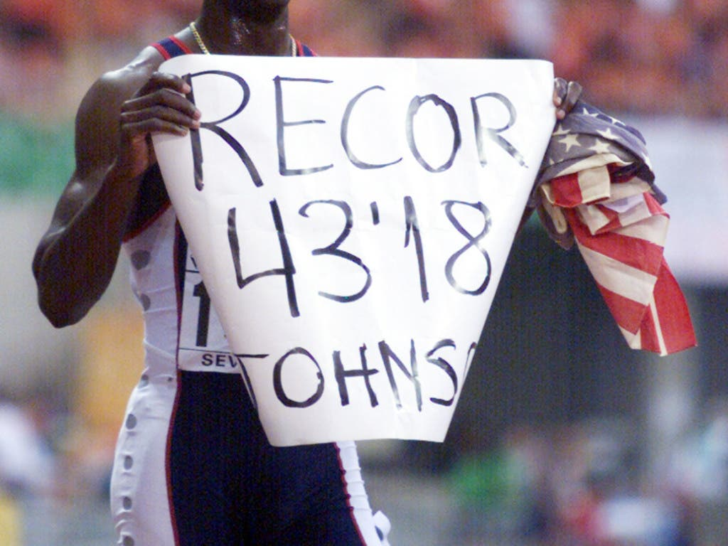 Michael Johnson verbesserte den Weltrekord an der WM 1999 in Sevilla um elf Hundertstel