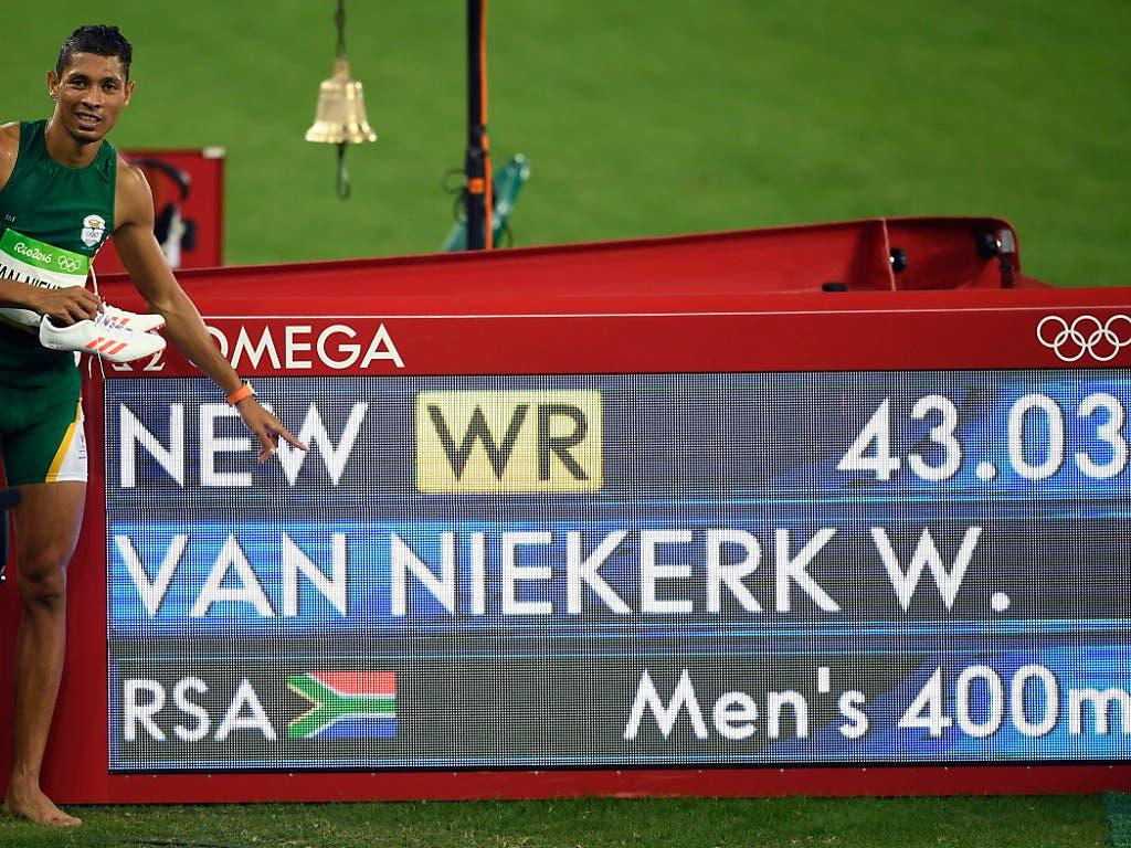 Die aktuelle Bestmarke über 400 m: 43,03 Sekunden, gelaufen vom Südafrikaner Wayde van Niekerk an den Olympischen Spielen 2016 in Rio