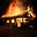In der Nacht auf Samstag, 17. August 2019, brannte eine Waldhütte in Merenschwand lichterloh. (Bild: Aargauer Zeitung)