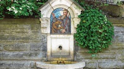 Brunnen in der Stadt St.Gallen:Die Quelle, an der Gallus Wasser trank