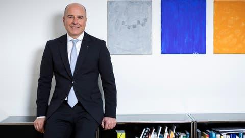 Daniel Salzmann, CEO der Luzerner Kantonalbank, in seinem Büro am Hauptsitz in Luzern. (Bild: Patrick Hürlimann (31. Januar 2020))