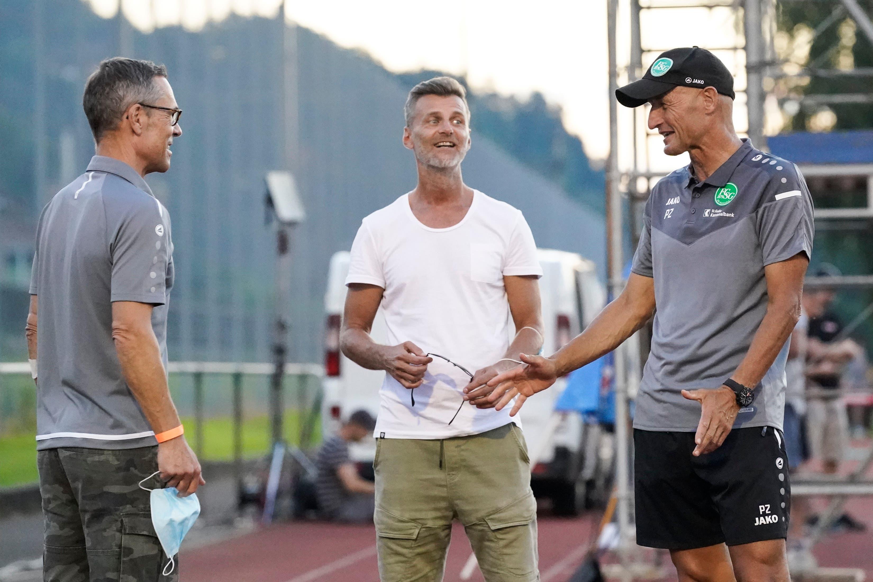 Das St.Galler Dreigestirn: (v.l.) Präsident Matthias Hüppi, Sportchef Alain Sutter und Trainer Peter Zeidler.