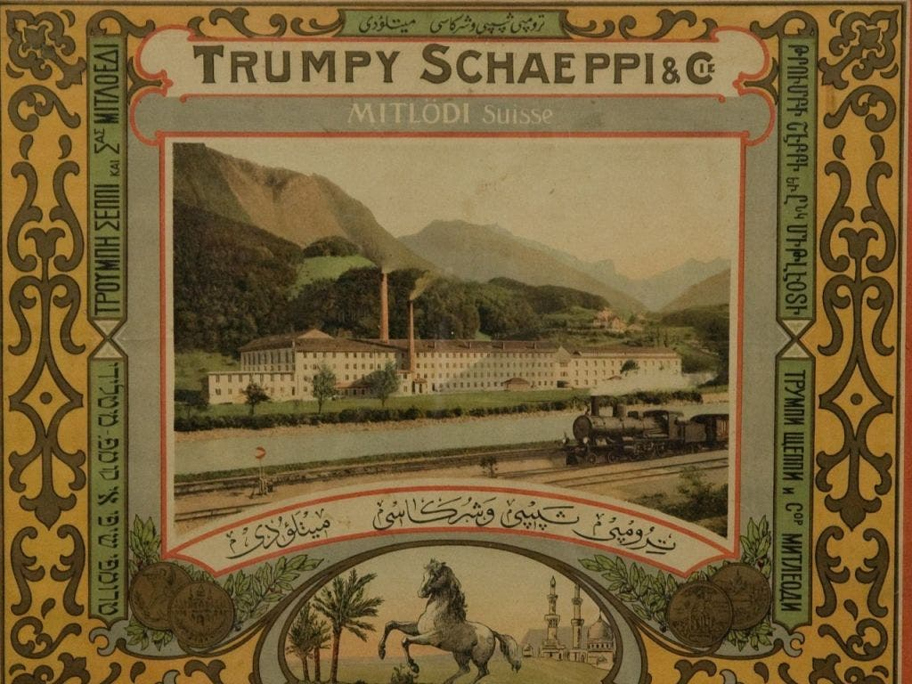 Werbung der Glarner Firma Trümpy und Schaeppi um 1900.
