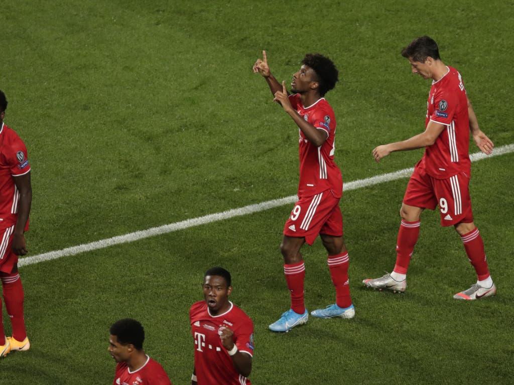 Bayern Münchens Kingsley Coman nach dem entscheidenden Tor im Champions-League-Final gegen Paris Saint-Germain