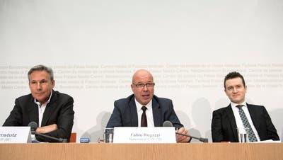 Fabio Regazzi (Mitte) wird wohl neuer Präsident desSchweizerischen Gewerbeverbands. (Peter Schneider / KEYSTONE)