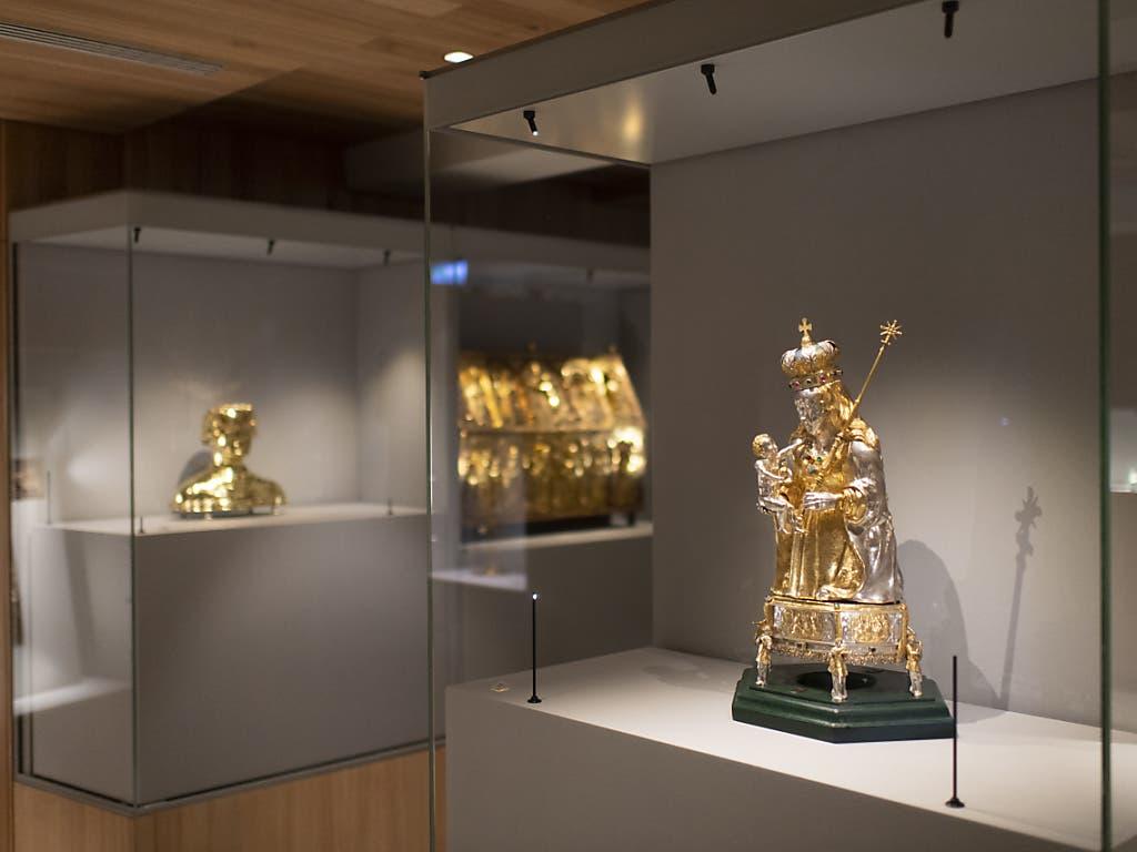 Halbfigur der Muttergottes um 1600, aufgenommen im neuen Domschatzmuseum des Bistums Chur, aufgenommen am Mittwoch, 26. August 2020, in Chur. Das neue Museum wird kommendes Wochenende eröffnet.