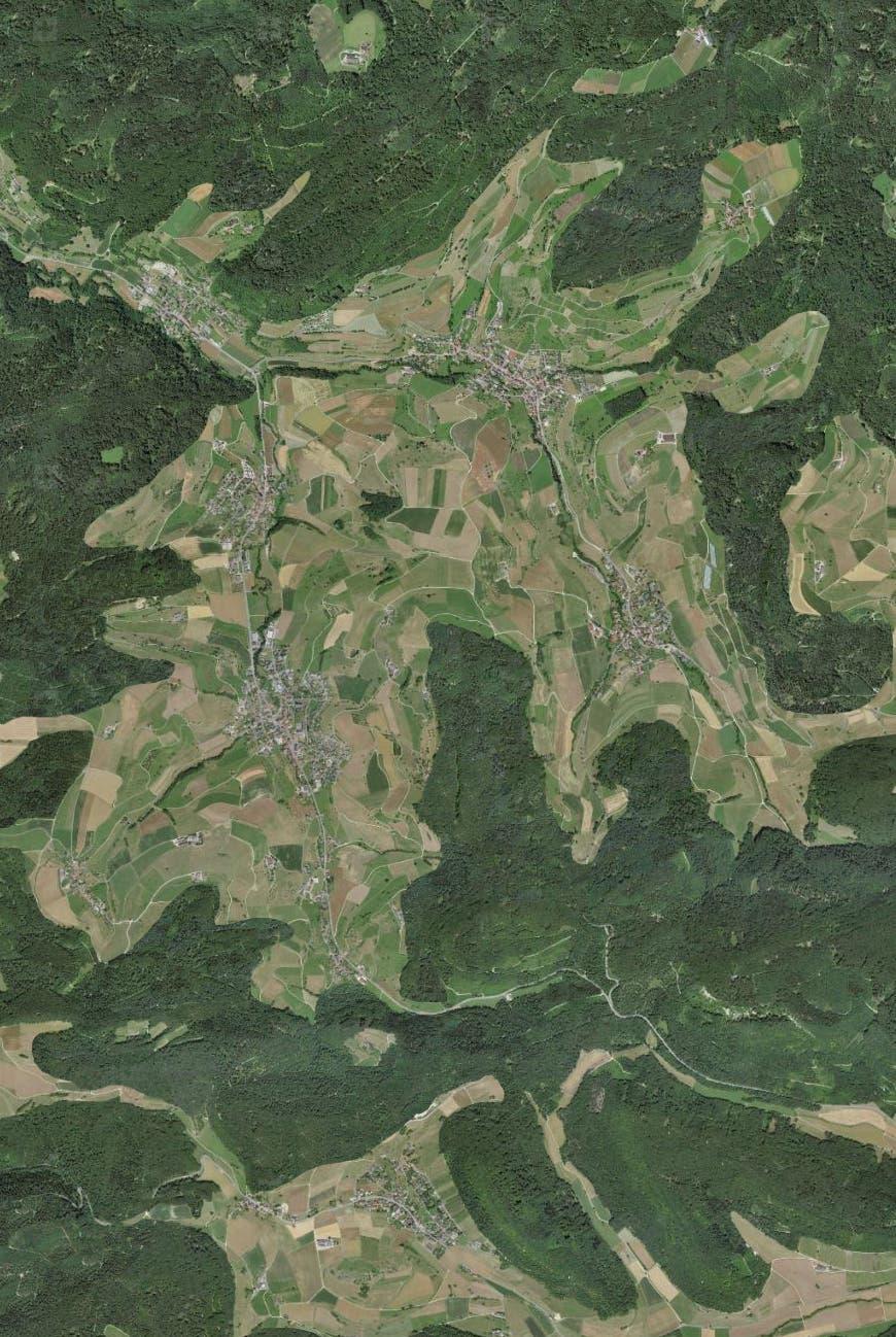 So würde das dichter bewaldete Mettauertal aussehen.