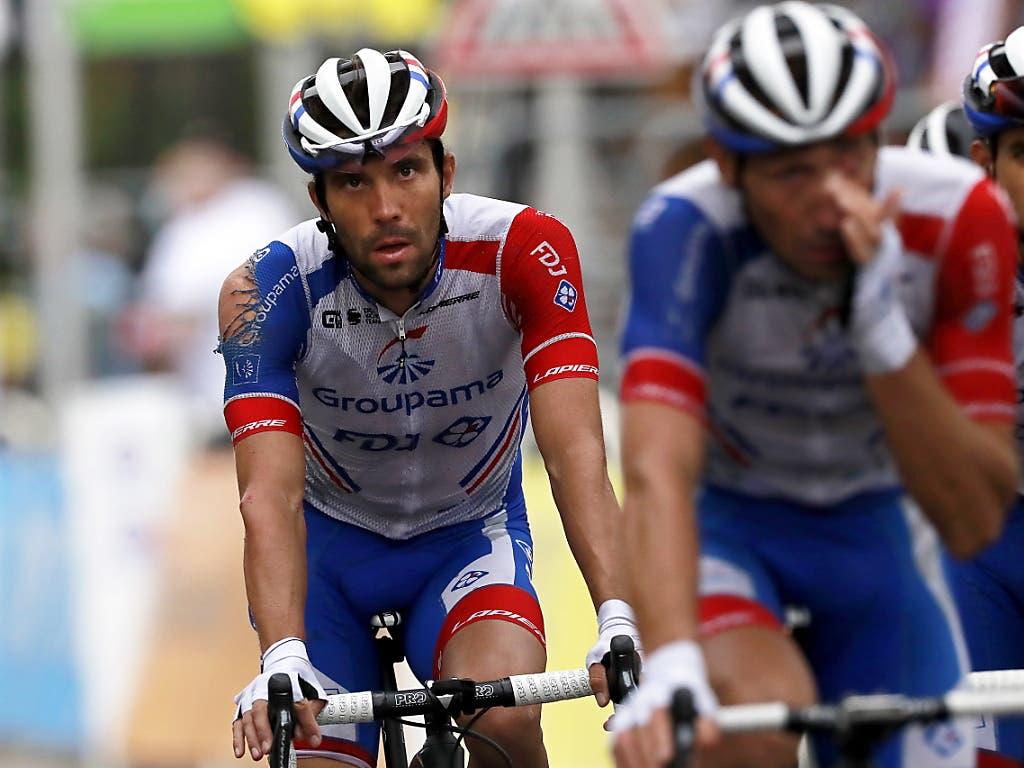 Auch Thibaut Pinot, die grosse Hoffnung der Franzosen auf den ersten Gesamtsieg seit 1985, stürzte in der 1. Etappe in Nizza