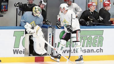 Der erste Schritt zurück: Goalie Bryan Rüegger freut sich aufs erste Eistraining in der Weinfelder Güttingersreuti. Mit ihren farbigen Helmen nehmen auch mehrere Try-out-Spieler teil.